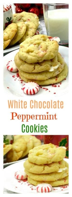 White Chocolate Peppermint Cookies are the perfect addition for your holioday baking thisthis Christma and New Year season. These holiday cookies are a favorite of Santa and his reindeer!