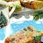 A cookie bar on a festive plate.