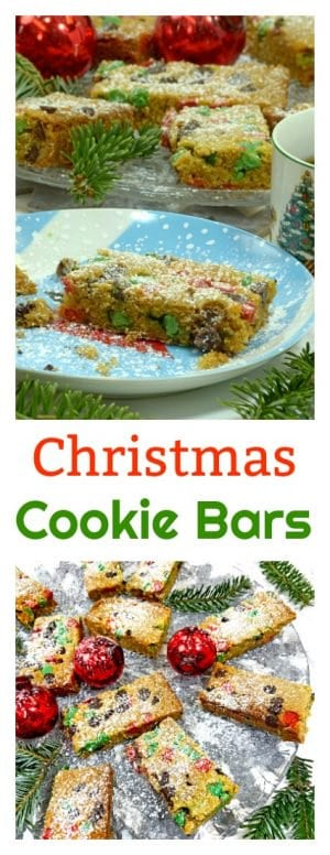 These Christmas Cookie Bars are a fast and easy holiday treat that are custom made for Santa Claus and his crew as they make their way to and from the North Pole on Christmas Eve.
