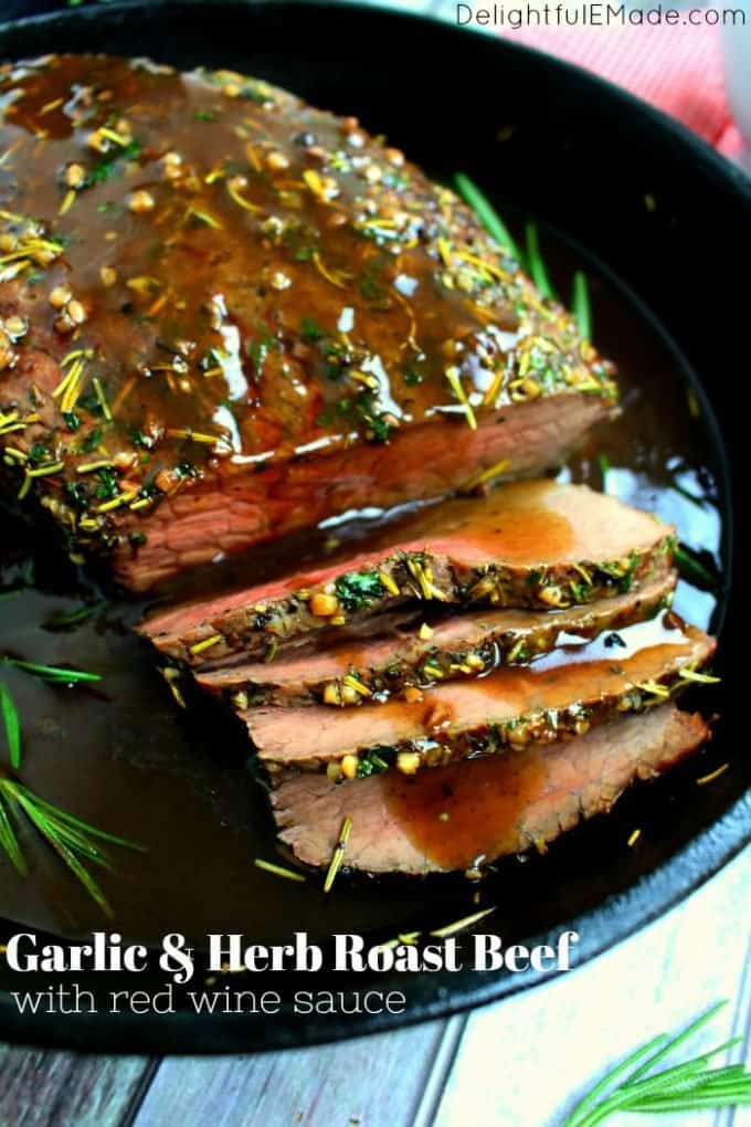 This garlic herb roast beef makes for a great holiday dinner on a budget