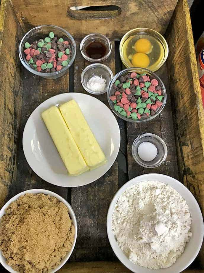 Ingredients for Christmas Cookie Bars
