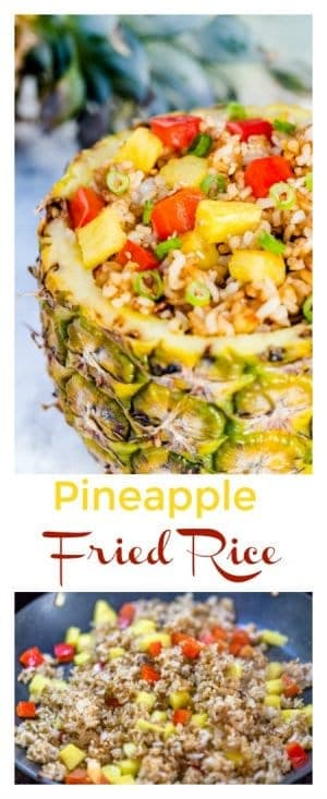 This Pineapple Fried Rice Recipe makes for a simple and healthy meal option that uses cold white rice, making it a useful recipe for leftover rice. As an added bonus, kids love this easy-to-make meal as well!
