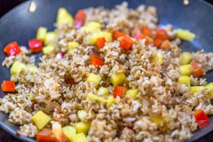 Frying Rice for Pineapple Fried Rice Recipe