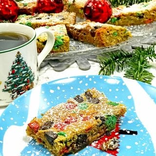 one plate of Christmas Cookie Bars