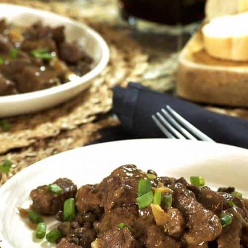 Insant Pot Beef Stew on Platter Talk