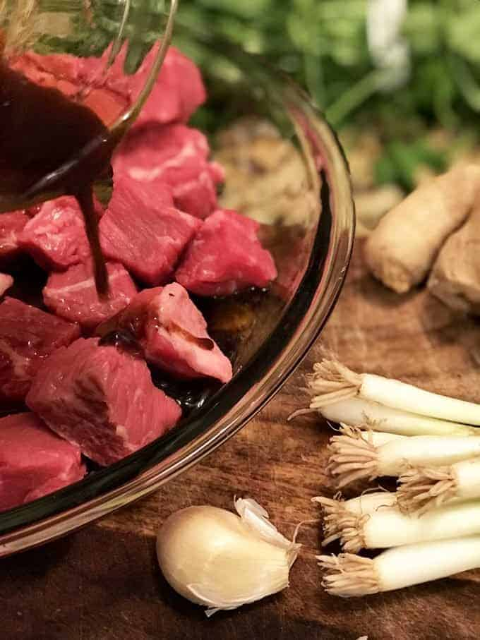Marinating chunks of beef for Instant Pot Beef Stew