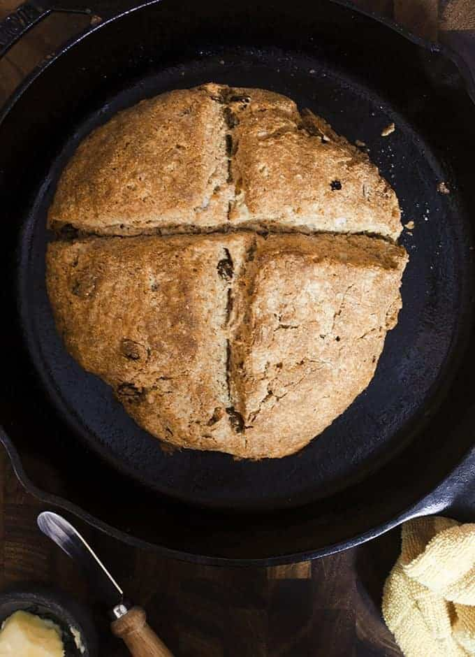 Whole Wheat Irish Soda Bread in a cast iron skillet