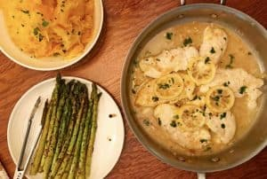 Dinner, featuring healthy chicken francese