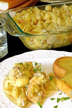 Leftover chicken casserole with bread.