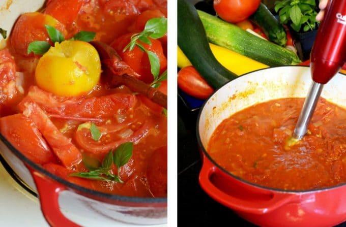 Pot of slow cooked homemade marinara sauce.