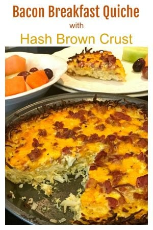 Platter Talk's hash brown quiche with bacon is an easy breakfast quiche to put together with just a handful of ingredients. Make this easy breakfast quiche recipe for your weekend crowd and have plenty of time leftover for that second mug of coffee! Make this gluten-free quiche soon!