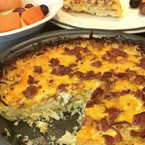 This hash brown quiche with bacon can be made for about $10.00