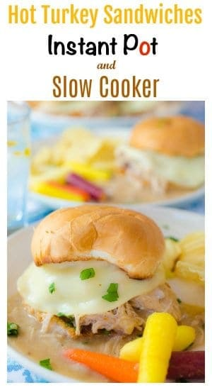 This simple and inexpensive hot turkey sandwich recipe can be made in either the Instant Pot or Slow Cooker. The recipe as made yields about 10 servings and any leftovers make the perfect filling for a turkey pot pie for a second meal later in the week, all making for the perfect recipe for busy families.