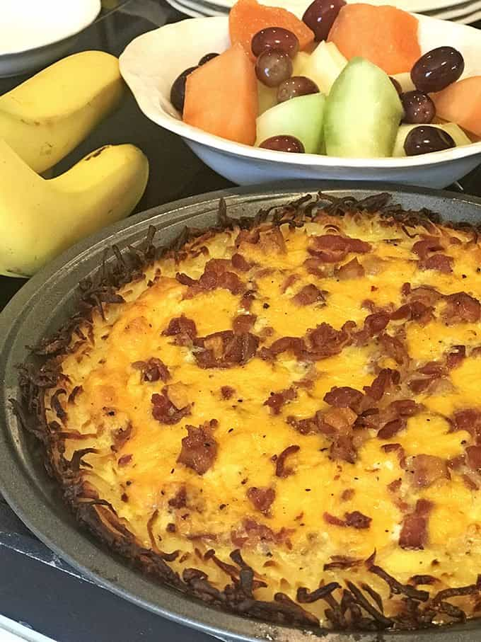 Bacon is added to this easy breakfast quiche recipe but use your imagination.
