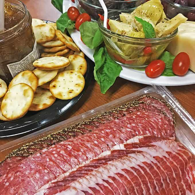 Cured meat is often a part of a traditional antipasto platter.