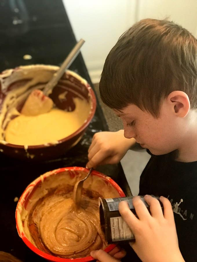 Add cocoa to half the batter when making a marble cake.