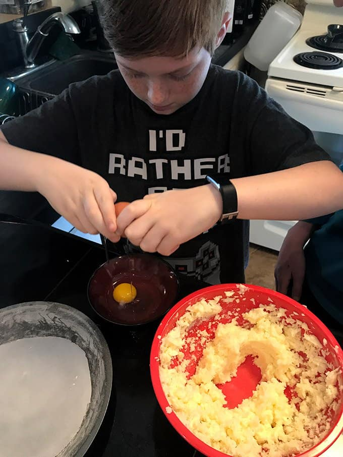 When making a cake from scratch, use a separate bowl to crack open the eggs, individually.