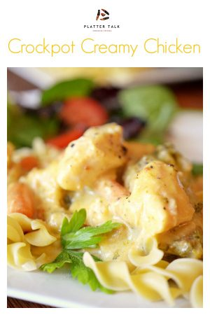 This Creamy Crock-Pot Chicken from Platter Talk is easy on the budget, takes less than 10 minutes to prep, and is loved by kids and adults alike! If you're looking for boneless skinless chicken crockpot recipes, this chicken breast meal is just the ticket for a delicious dinner tonight! #creamycrockpotchicken #slowcookerchicken #bonelessskinlesschickencrockpotrecipes #chickenbreasts #creamofchicken