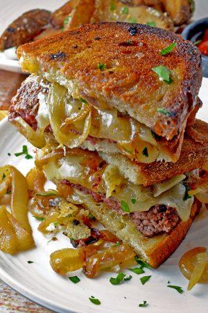 Stack of The Patty Melt Sandwich