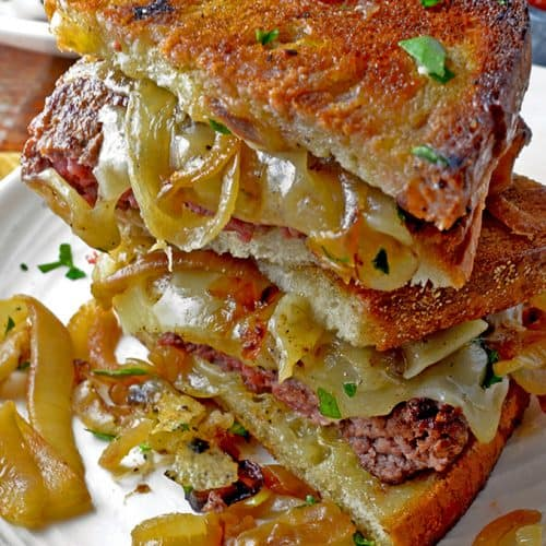 Stack of The Patty Melt Sandwich