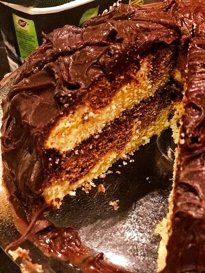This marble cake is so simple a 12 year old can make it, in fact that's what happened at our house today!