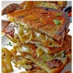 This Patty Melt from Platter Talk features Ground beef & sweet caramelized onions all sandwiched between a toasted layer of rye bread and Swiss cheese.