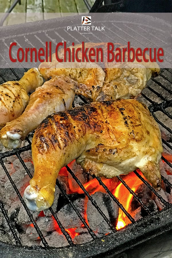 Cornell Chicken Barbecue on a grill of hot coals.