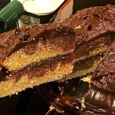 Cutting a slice of marble cake from Platter Talk food blog.