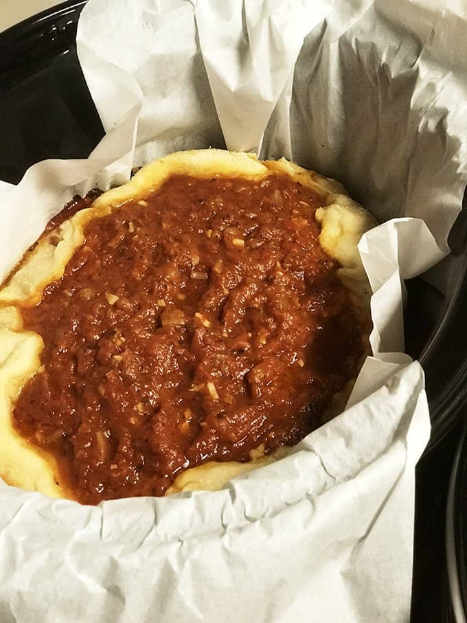 Slow Cooker Deep Dish Pizza