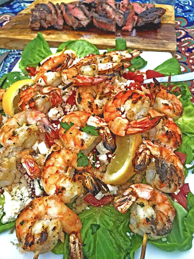 Serve this Greek-style grilled shrimp over couscous.