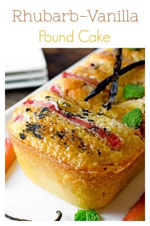 This Vanilla Pound Cake Recipe uses tender and sweet stalks of vanilla-poached rhubarb making for a perfect spring cake recipe from scratch.