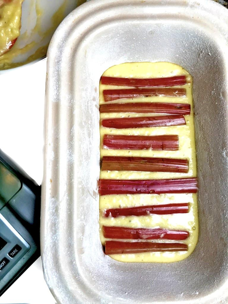 Add rhubarb to the first layer of this vanilla pound cake.