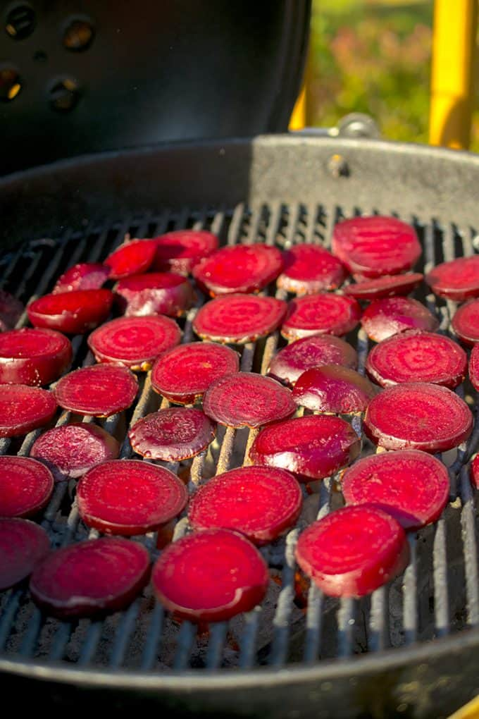 Marking beets on a hot grill.