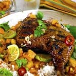 Jerk chicken tastes great with a chunky salsa recipe, using paypay as a main ingredient.
