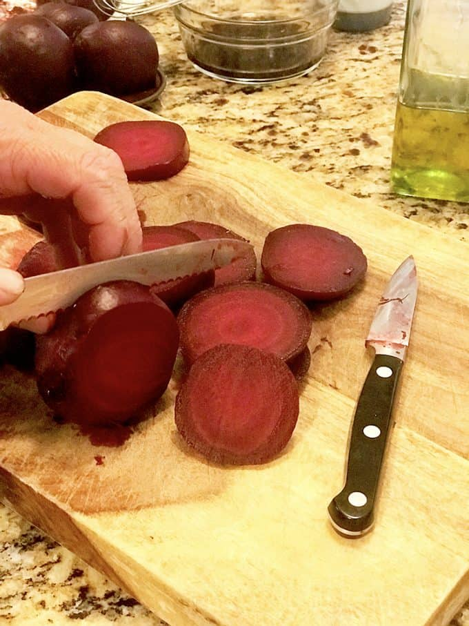 Slice the beets before putting them on the grill.
