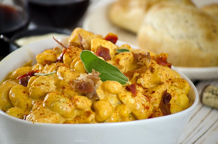 This Pumpkin Gnocchi features two cheeses and savory seasoning.