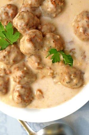 Serving bowl of mushroom meatballs