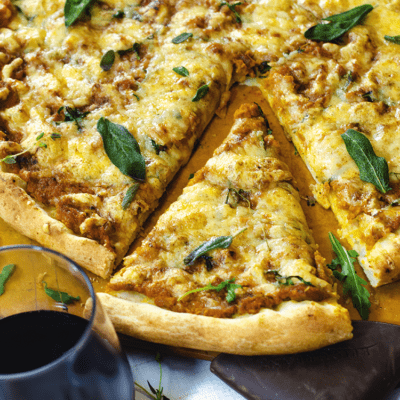 Pumpkin pizza from Platter Talk is a savory gourmet treat that's perfect for holiday parties.