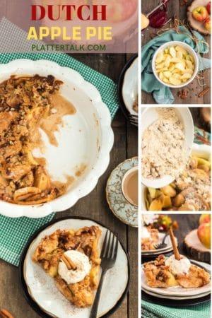 Process photos of making Dutch apple pie