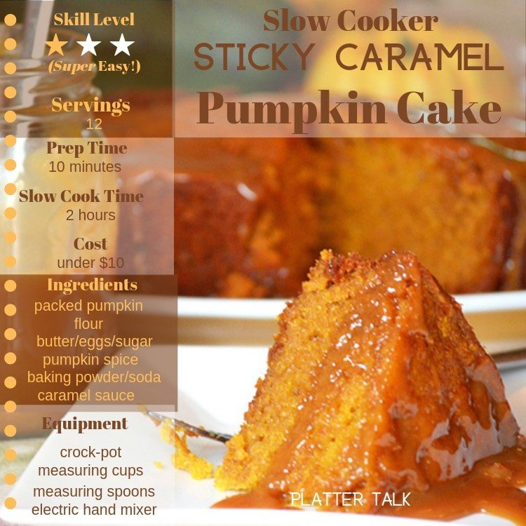 Pumpkin cake crockpot dessert with recipe information.