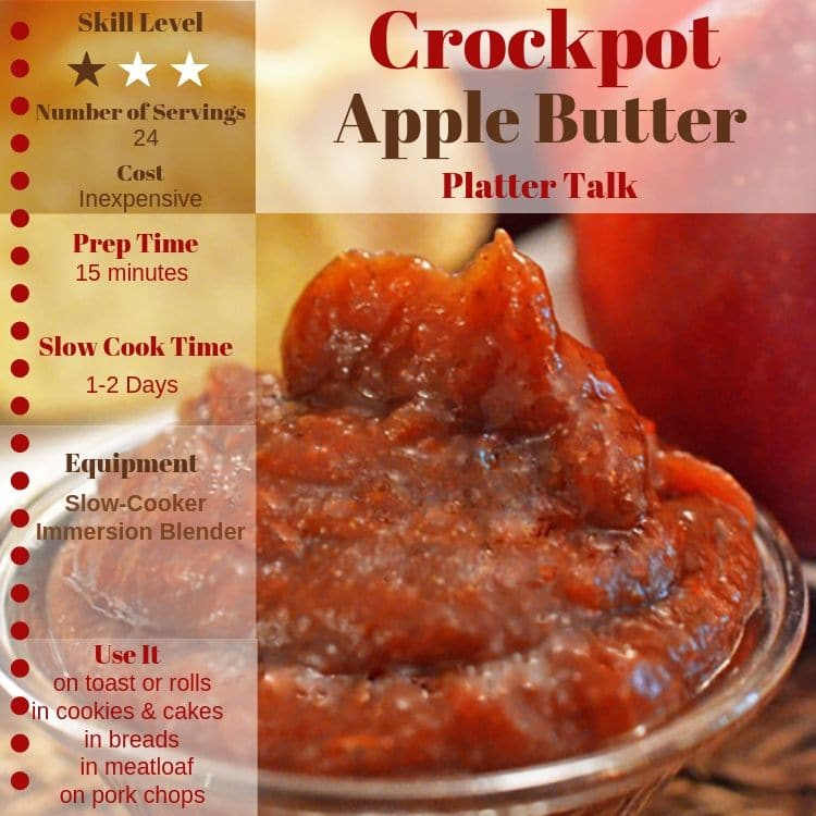 Dish of apple butter along with apple butter recipe information.