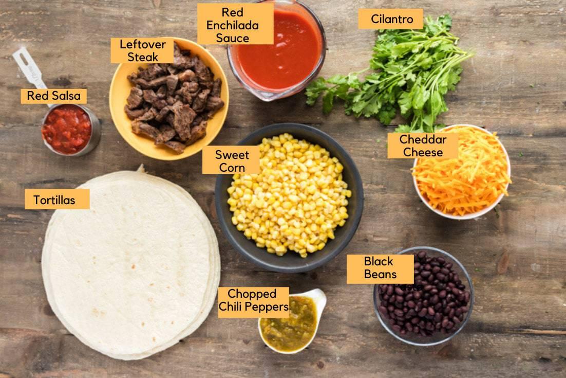 Ingreideints for to make enchiladas using leftover steak.