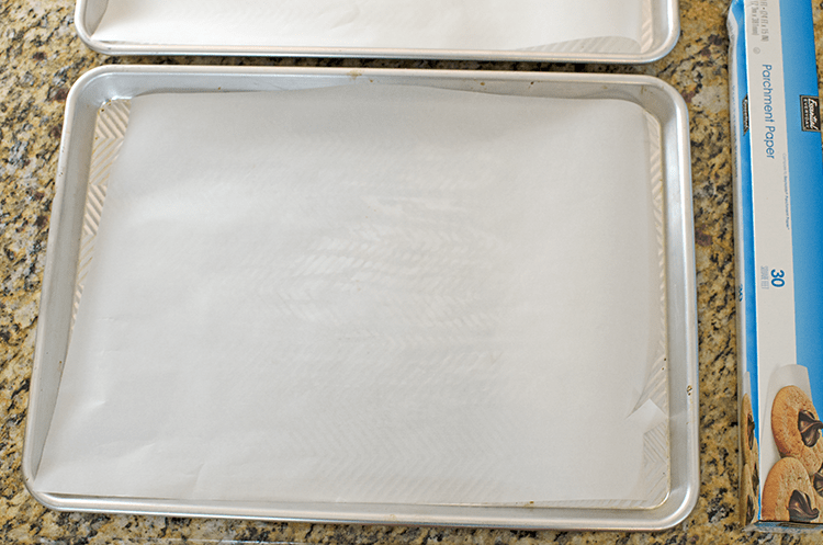 Line a baking sheet with parchment paper when starting this pop tart recipe.