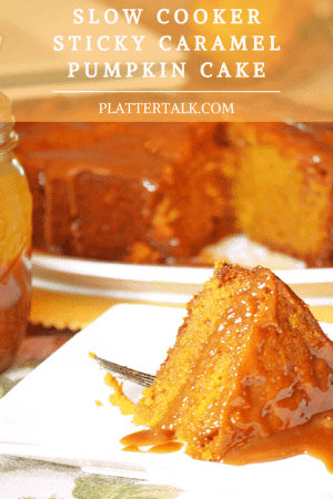 Serving of pumpkin cake on a plate.