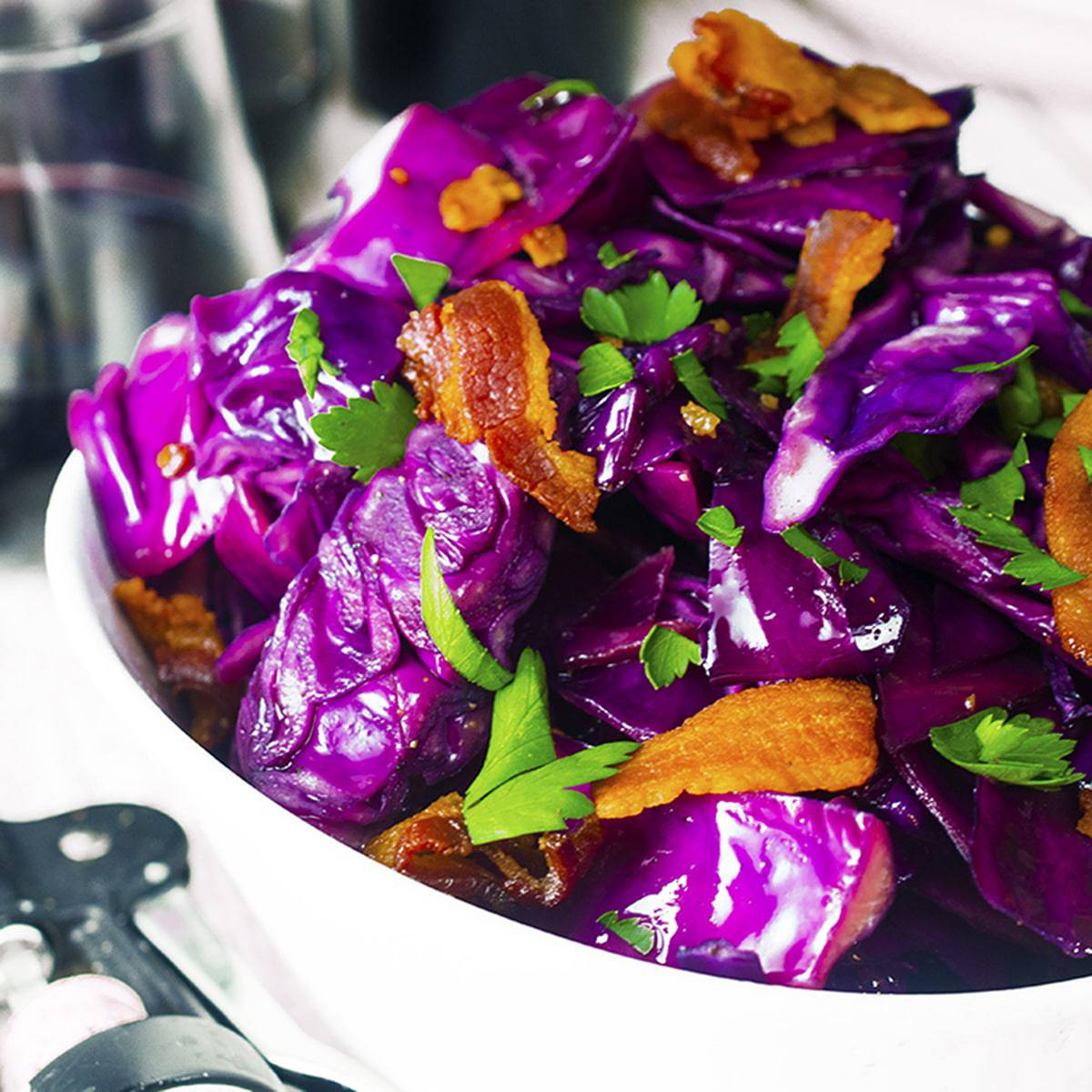 Bowl of purple cabbabge stir fry.