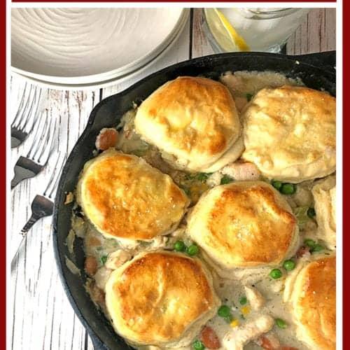 Chicken and bisucits skillet pot pie recipe.