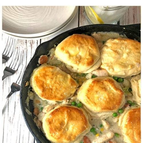 Chicken. and Biscuits Skillet Pot Pie Recipe