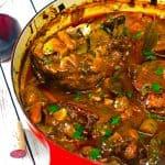 Pork vegetable stew in cooking vessel