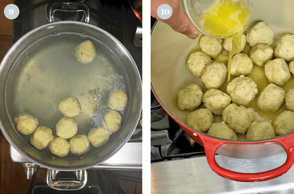 Pot of boiling water with potato dumplings.