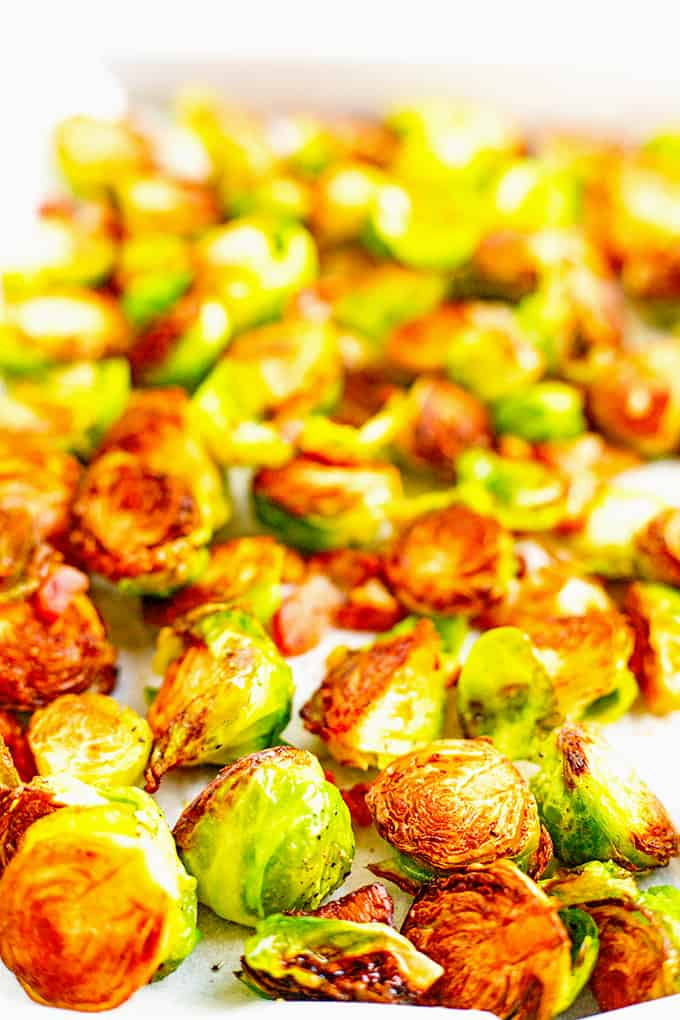 Roasted Brussels sprouts from the oven.